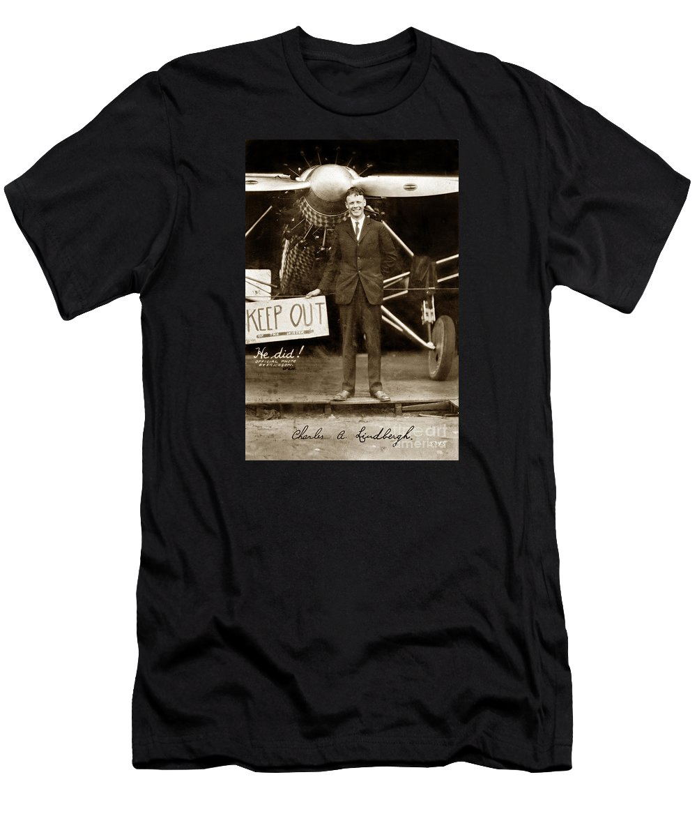 C. A. Lindbergh Men's T-Shirt (Athletic Fit) featuring the photograph Charles A. Lindbergh And Spirit Of St. Louis 1927 by California Views Archives Mr Pat Hathaway Archives