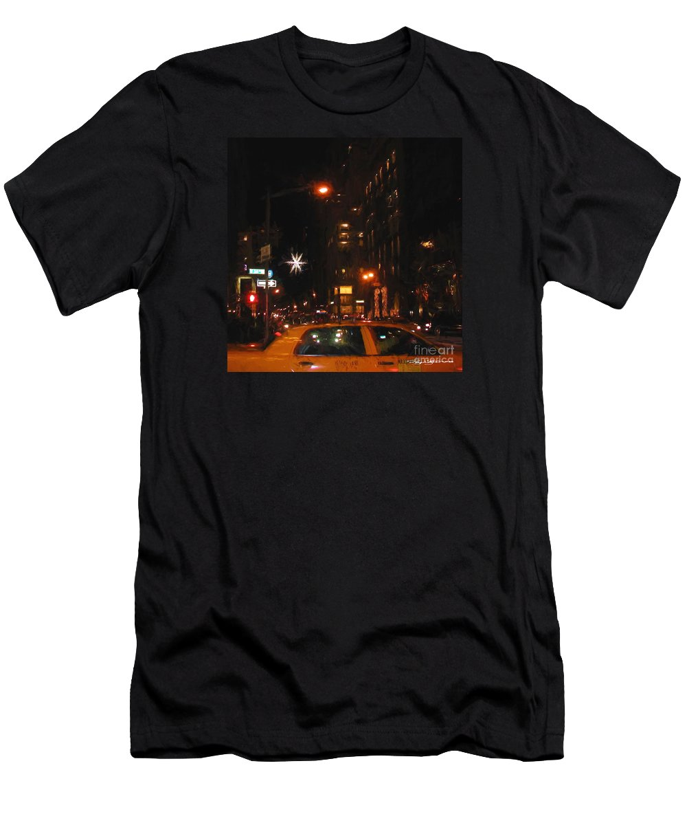 Urban Men's T-Shirt (Athletic Fit) featuring the digital art Cab New York by Roger Lighterness