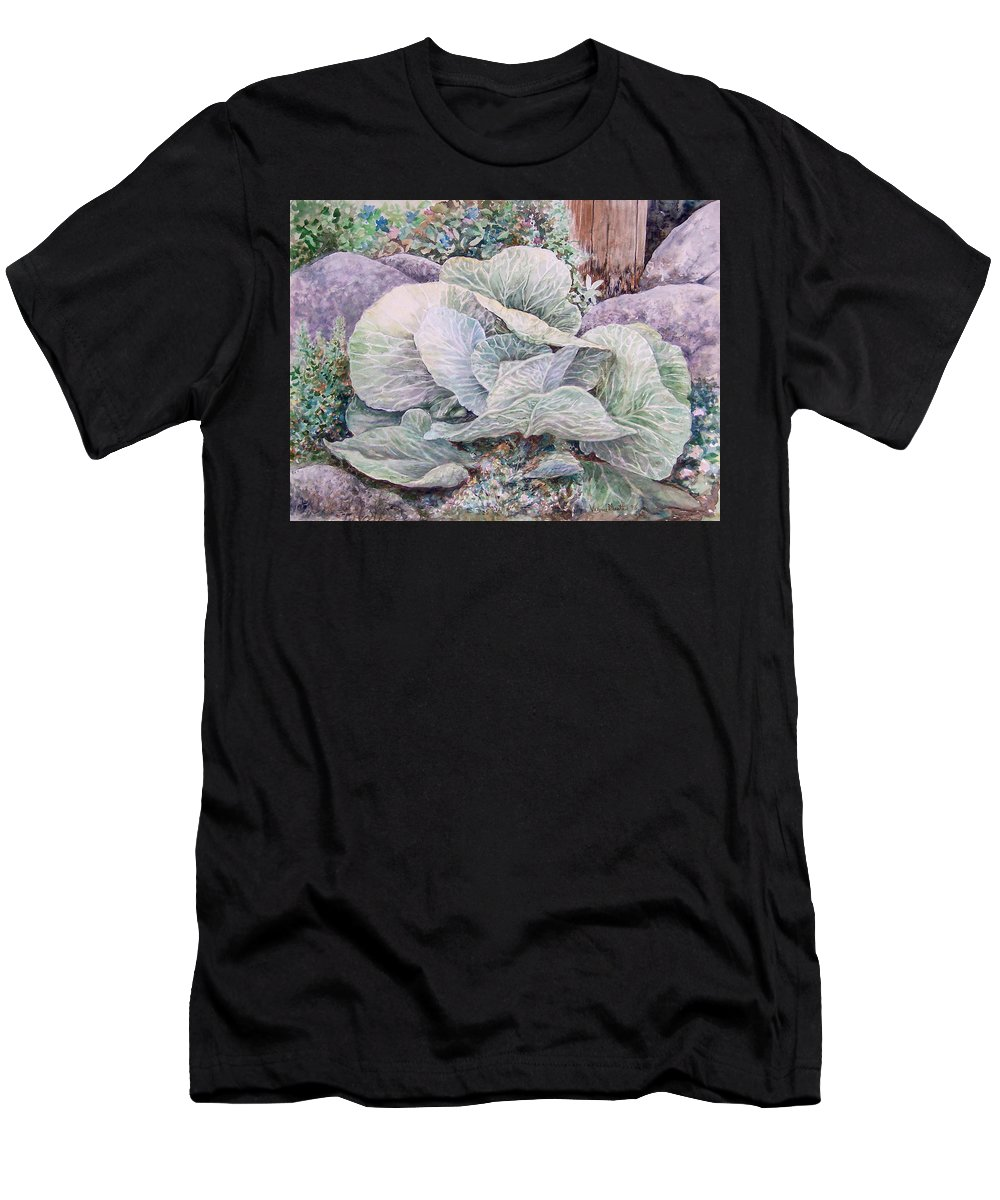 Leaves Men's T-Shirt (Athletic Fit) featuring the painting Cabbage Head by Valerie Meotti