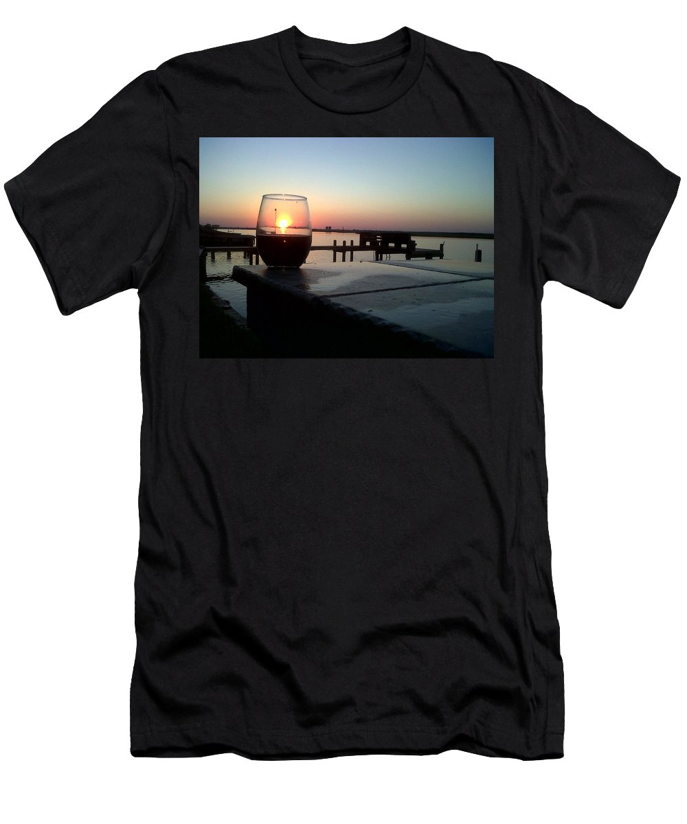 Sunset Wine Cabernet Ocean Dock Men's T-Shirt (Athletic Fit) featuring the photograph Cabernet Sunset by Cindy New