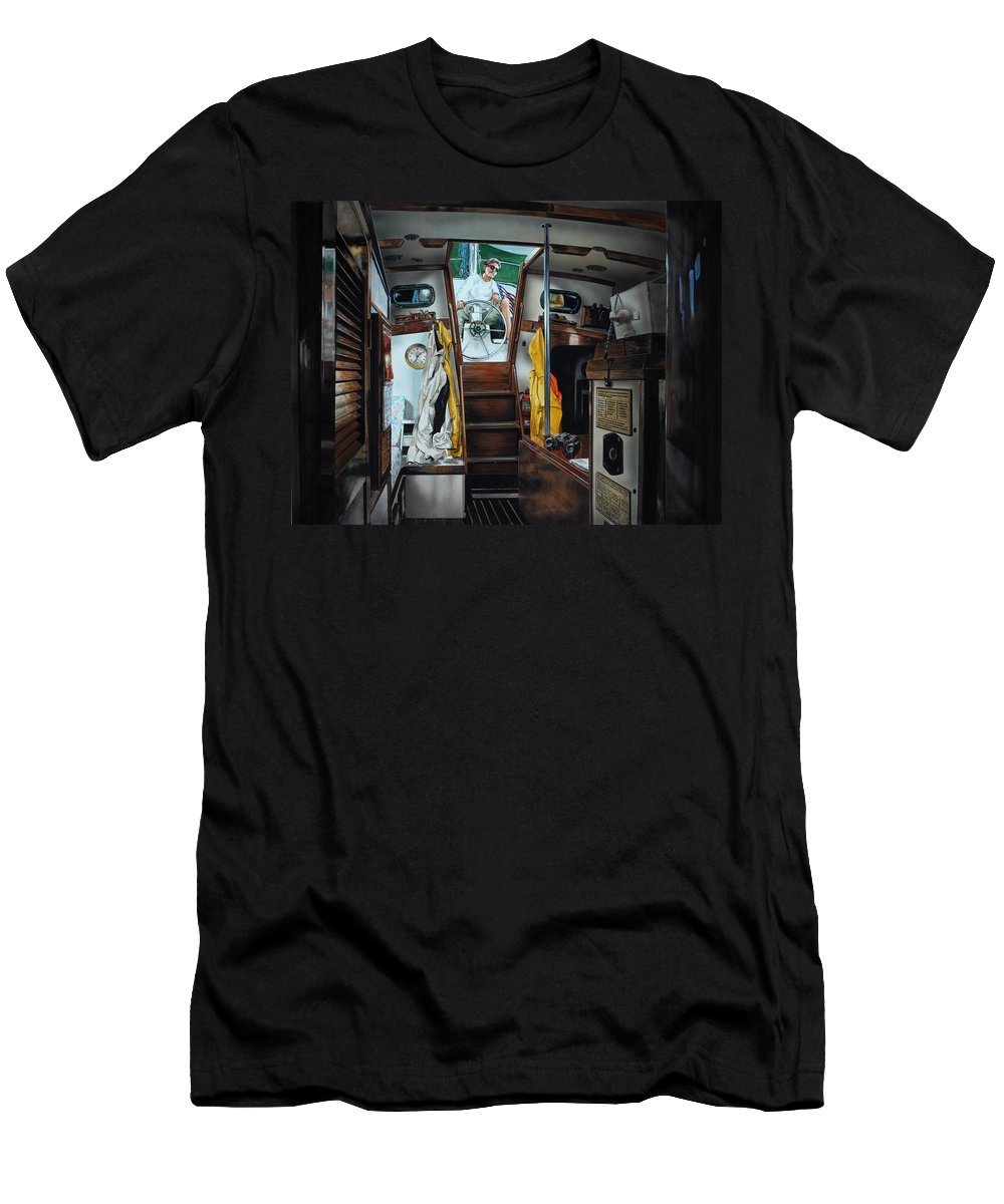 Boating Men's T-Shirt (Athletic Fit) featuring the painting Cabin Fever by Robert W Cook