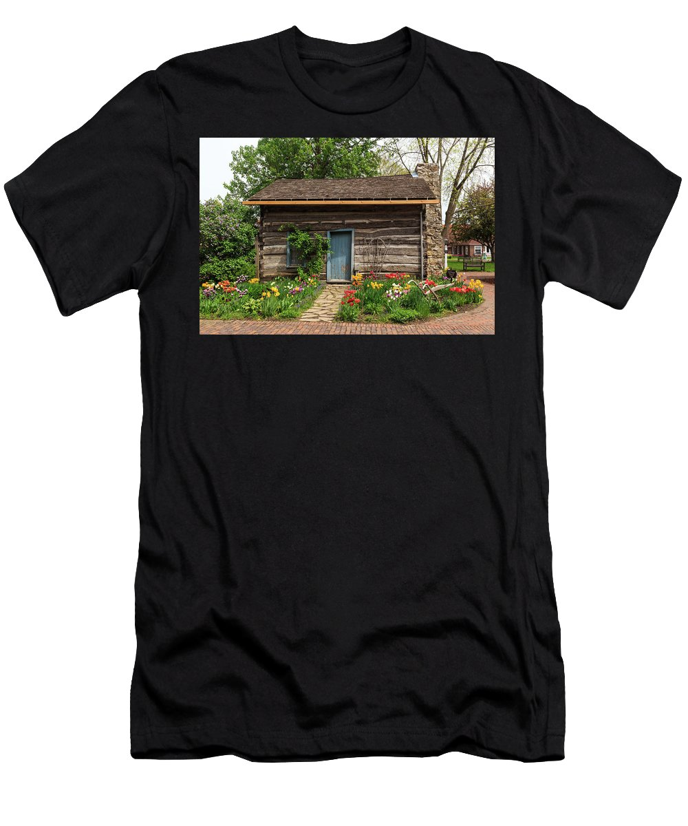 Cabin Men's T-Shirt (Athletic Fit) featuring the photograph Cabin In The Tulip Patch by Terri Morris