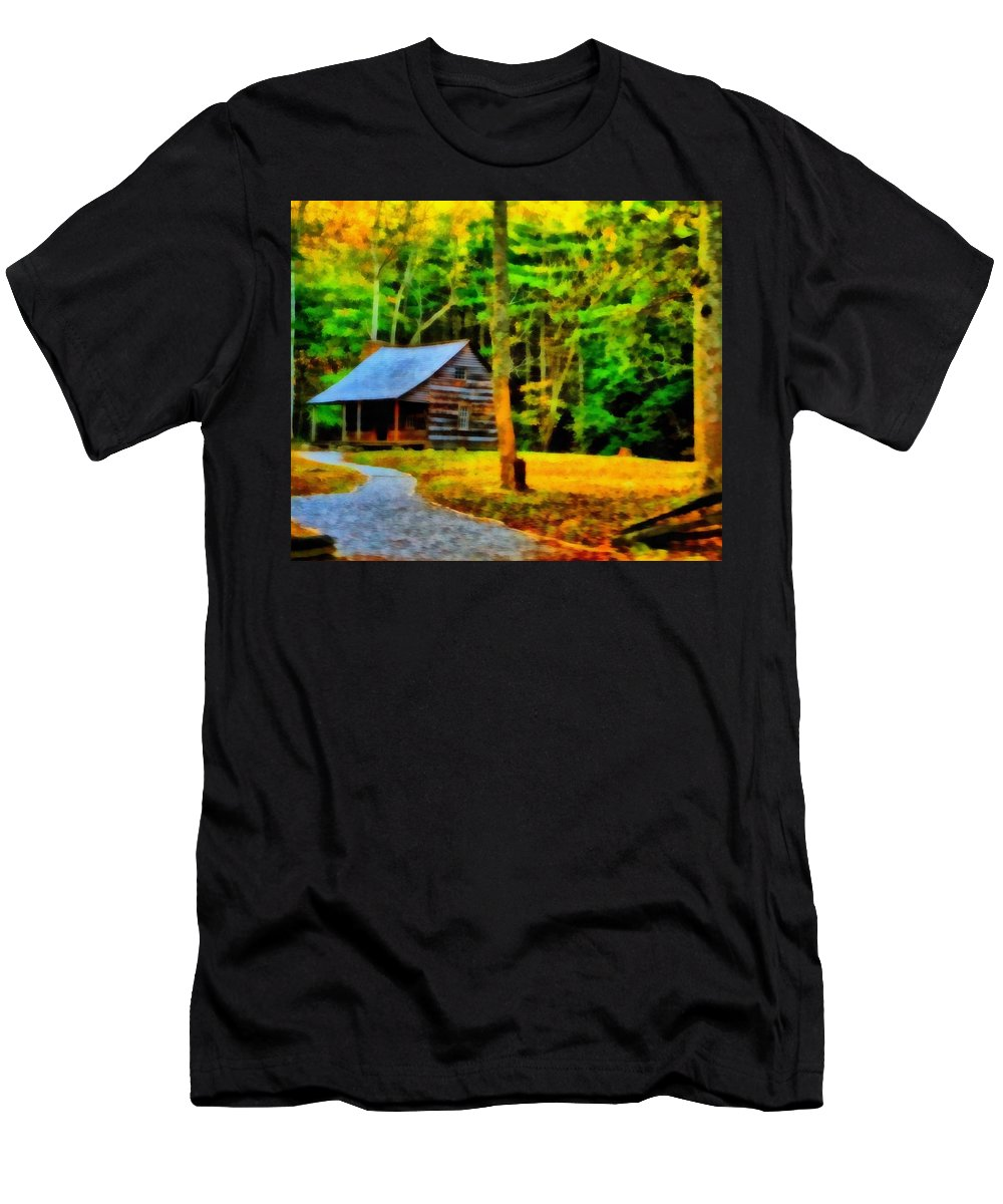 Cabin In The Woods Men's T-Shirt (Athletic Fit) featuring the photograph Cabin In The Woods by Dan Sproul