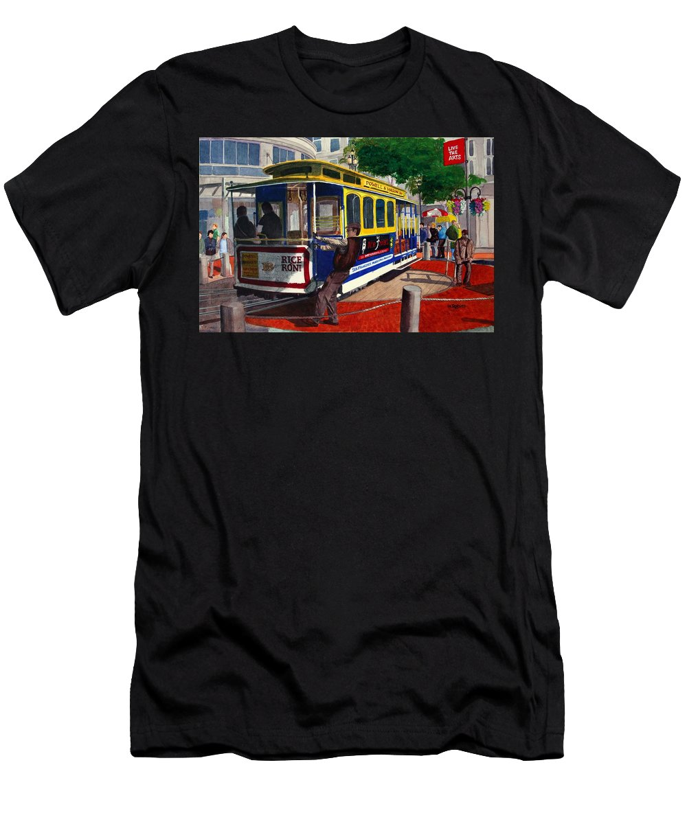 San Francisco Men's T-Shirt (Athletic Fit) featuring the painting Cable Car Turntable At Powell And Market Sts. by Mike Robles