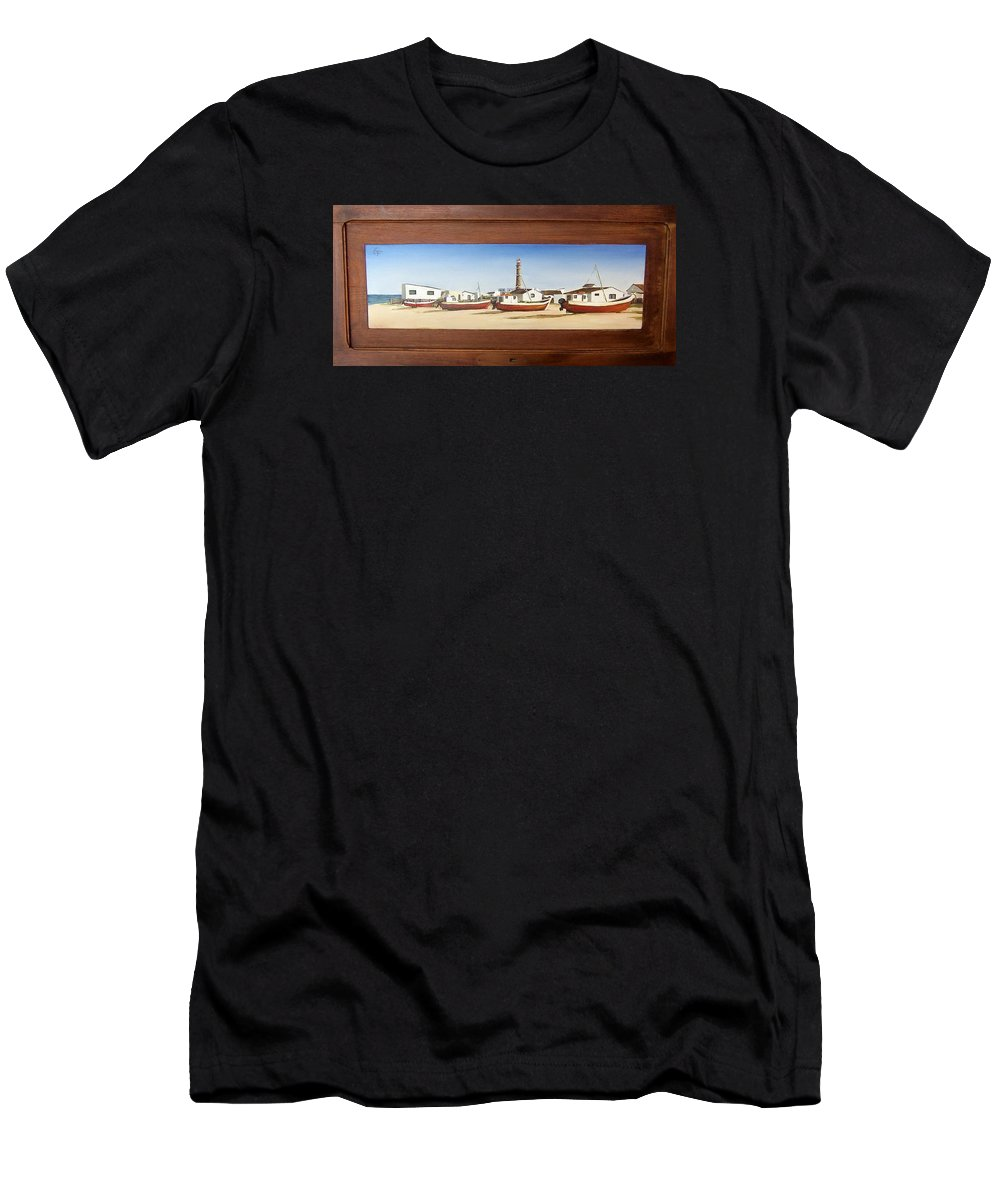 Landscape Seascape Uruguay Beach Boats Sea Lighthouse Men's T-Shirt (Athletic Fit) featuring the painting Cabo Polonio 2 by Natalia Tejera