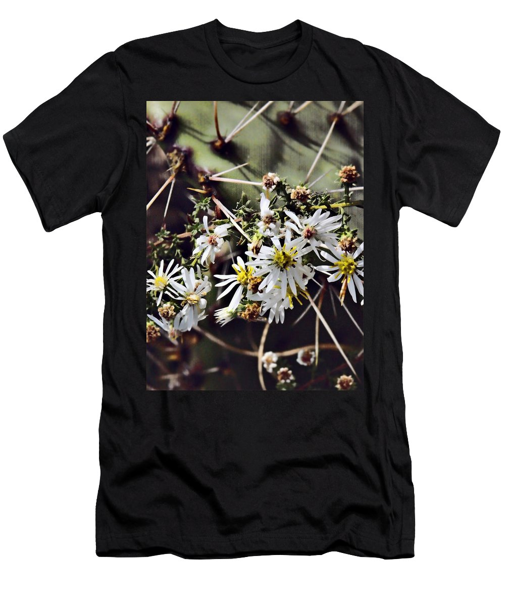 Cactus Men's T-Shirt (Athletic Fit) featuring the photograph Cactus Flowers by Scott Wyatt