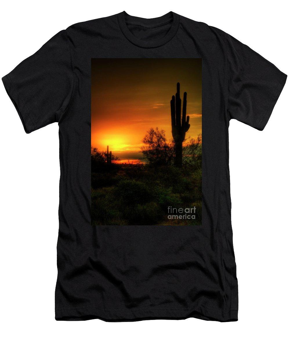 Arizona Men's T-Shirt (Athletic Fit) featuring the photograph Cactus Sunrise by Saija Lehtonen