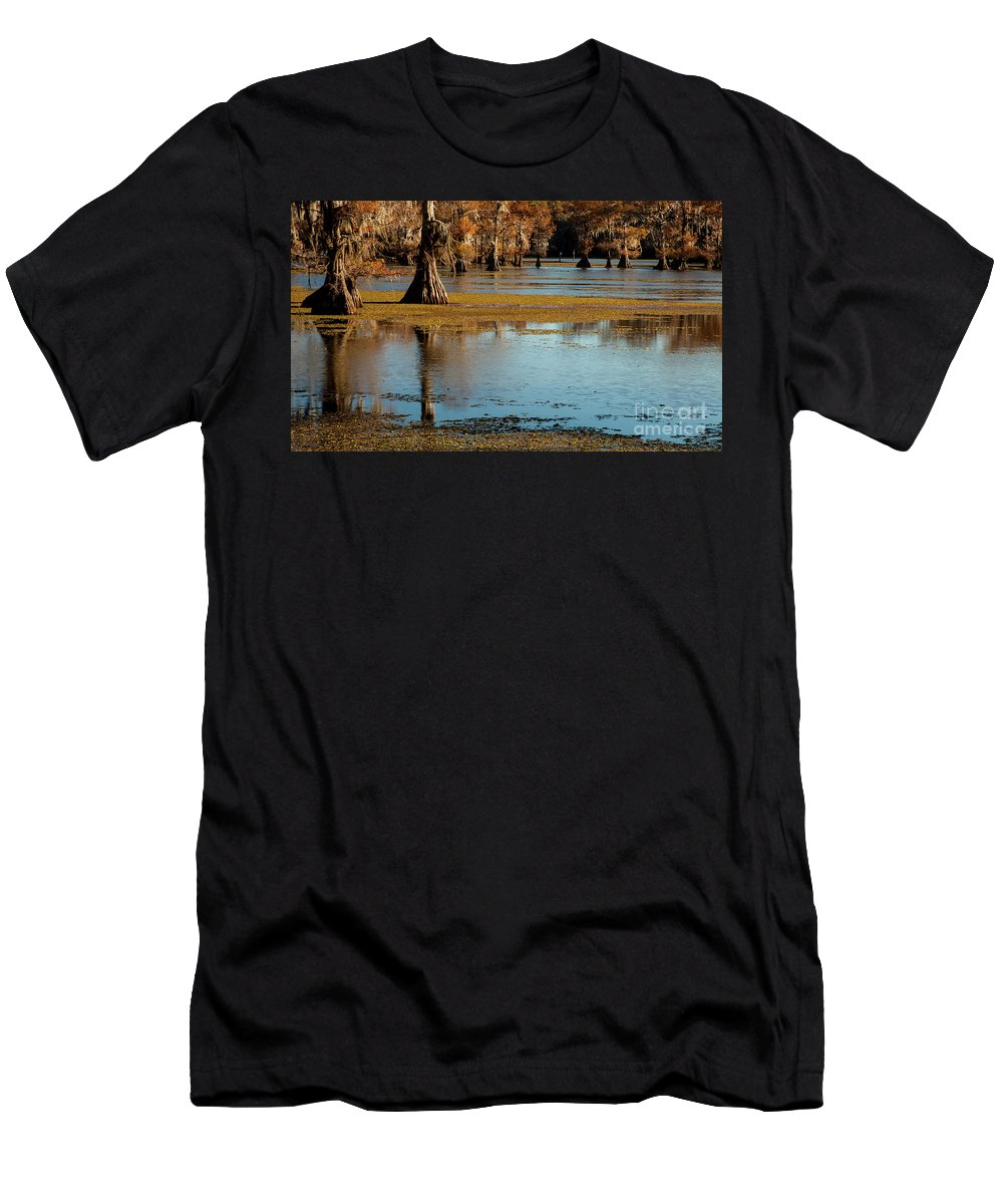 Landscape Men's T-Shirt (Athletic Fit) featuring the photograph Caddo Lake 2016 by Iris Greenwell