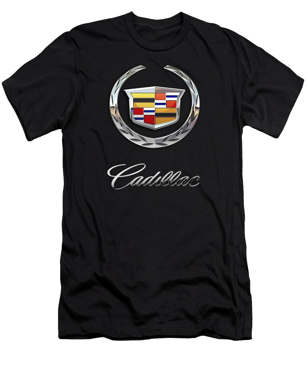 'wheels Of Fortune' By Serge Averbukh Men's T-Shirt (Athletic Fit) featuring the photograph Cadillac - 3 D Badge On Black by Serge Averbukh