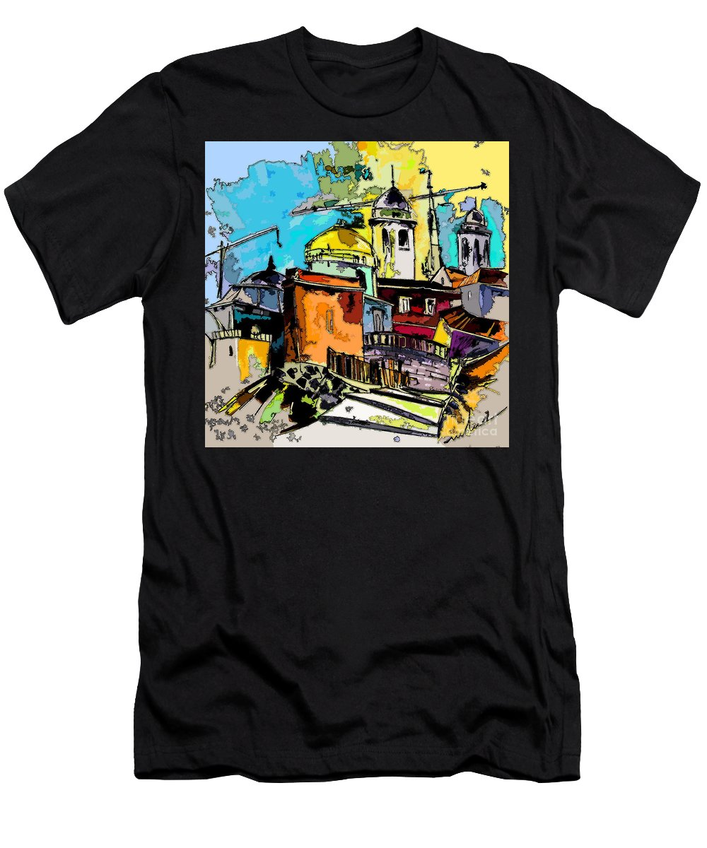 Spain Painting Cadiz Andalusia Men's T-Shirt (Athletic Fit) featuring the painting Cadiz Spain 02 Bis by Miki De Goodaboom