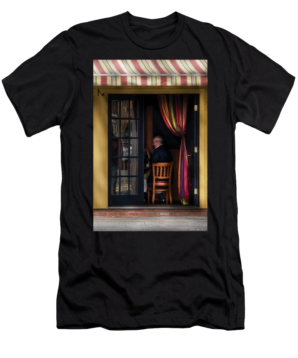 Savad Men's T-Shirt (Athletic Fit) featuring the photograph Cafe - Brunch by Mike Savad