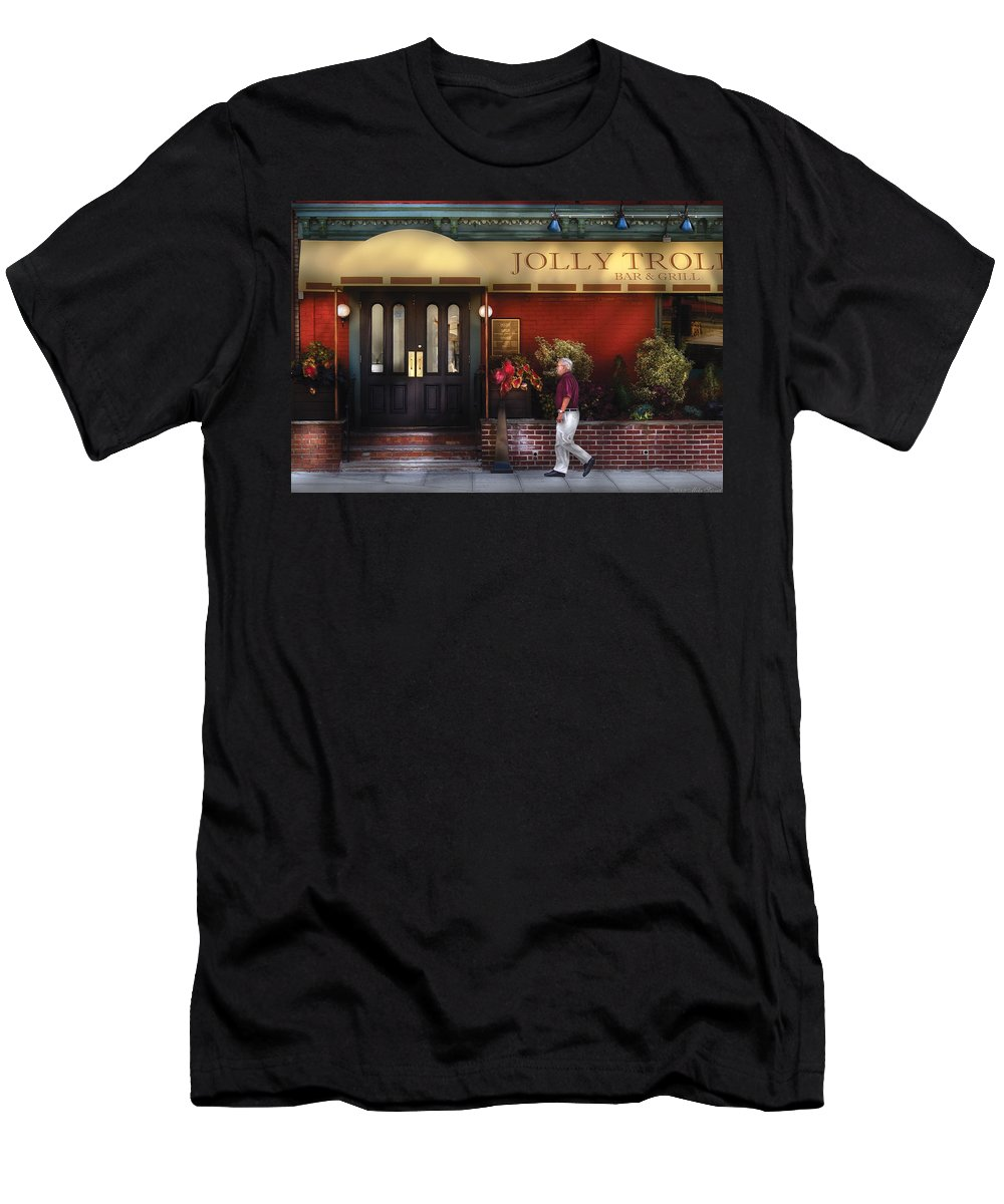Savad Men's T-Shirt (Athletic Fit) featuring the photograph Cafe - Jolly Trolley by Mike Savad