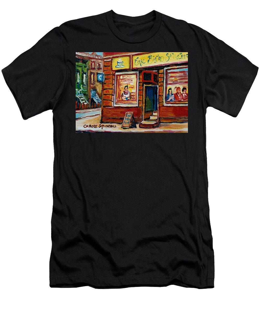 Cafe Bistro St.viateur Men's T-Shirt (Athletic Fit) featuring the painting Cafe Bistro St. Viateur by Carole Spandau