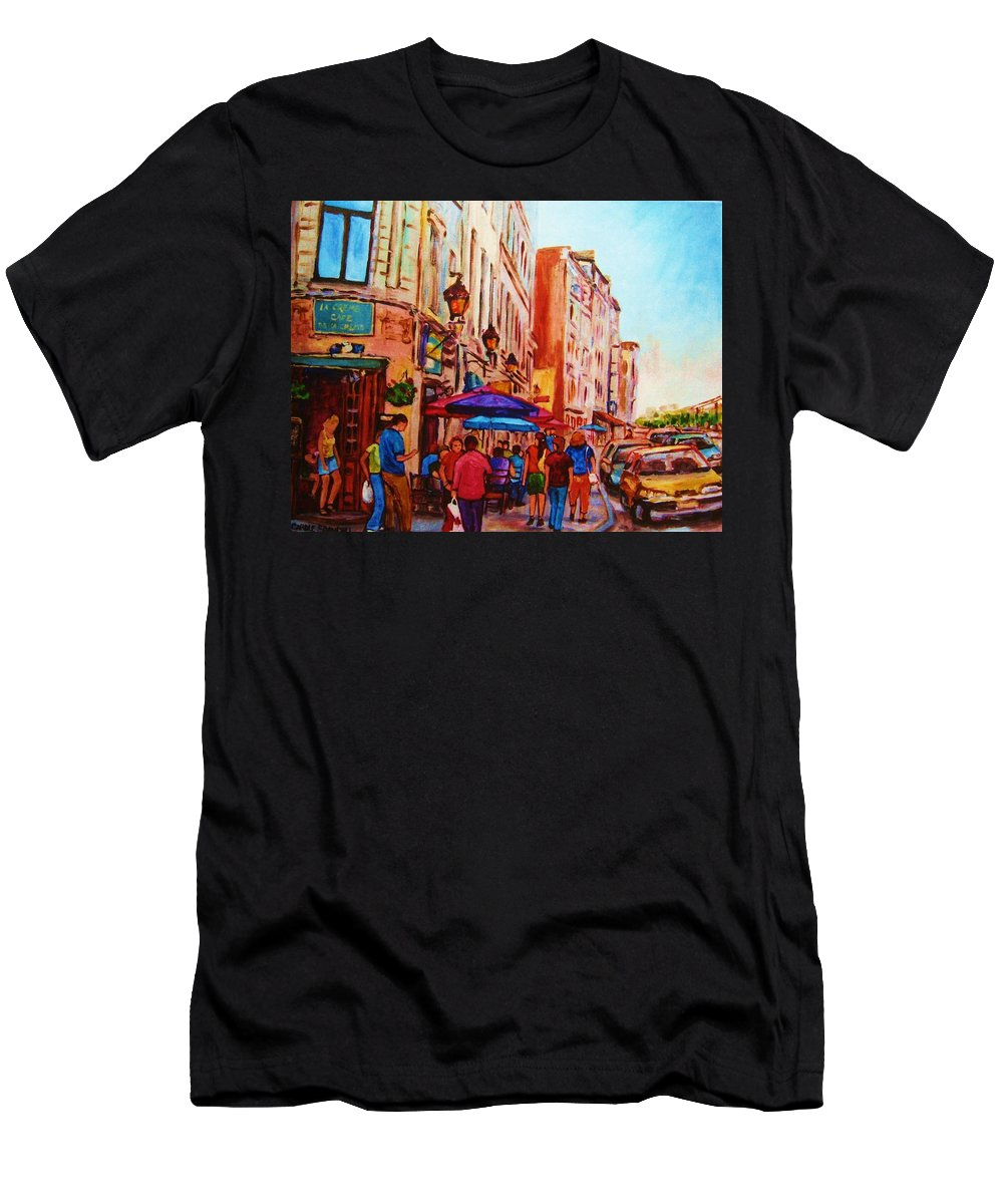 Montreal Men's T-Shirt (Athletic Fit) featuring the painting Cafe Creme by Carole Spandau