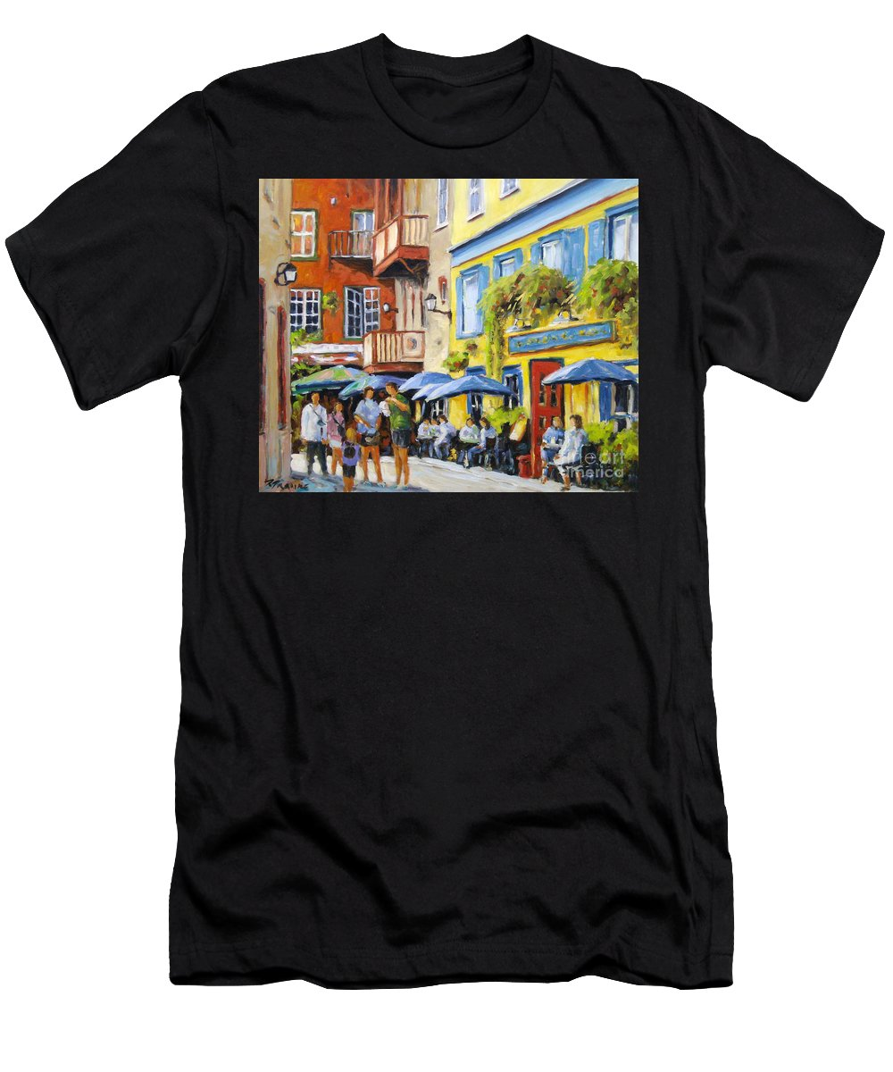 Balcony Men's T-Shirt (Athletic Fit) featuring the painting Cafe In The Old Quebec by Richard T Pranke