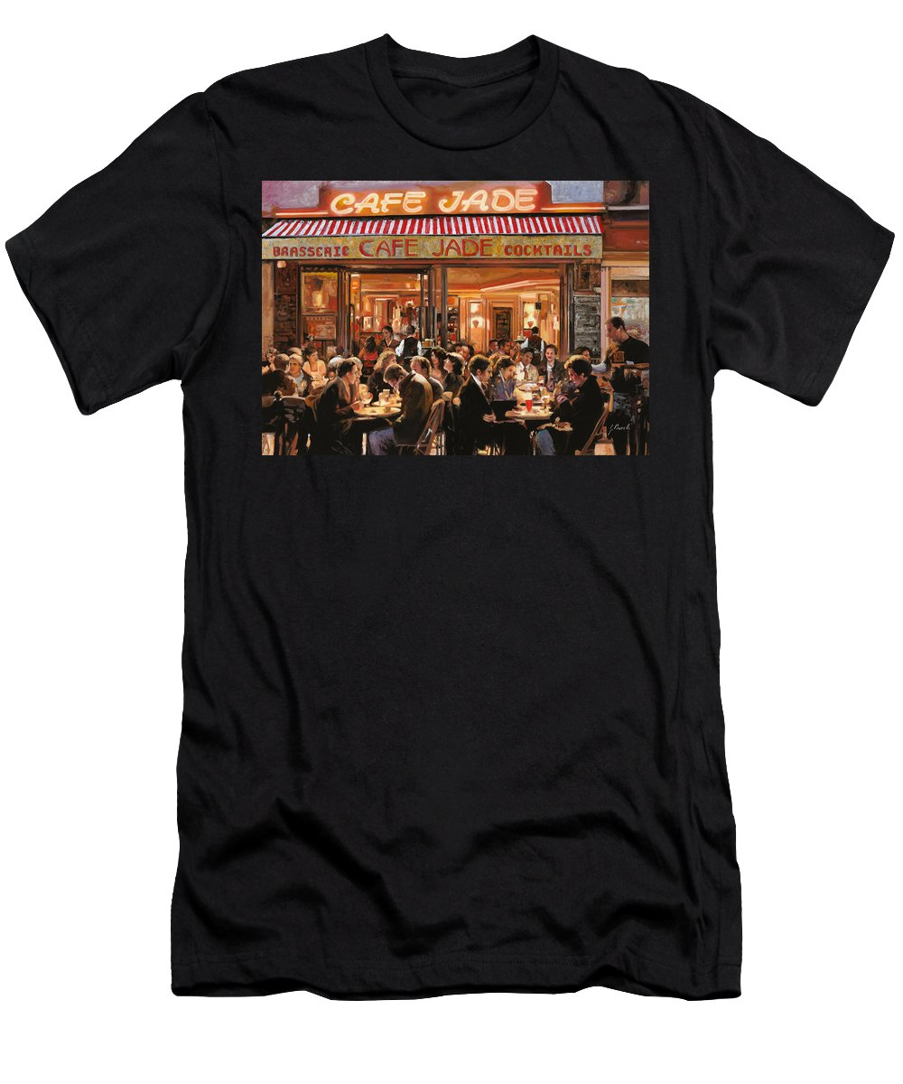 Brasserie Men's T-Shirt (Athletic Fit) featuring the painting Cafe Jade by Guido Borelli