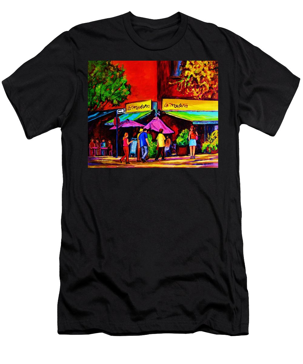 Cafe Scenes Men's T-Shirt (Athletic Fit) featuring the painting Cafe La Moulerie On Bernard by Carole Spandau