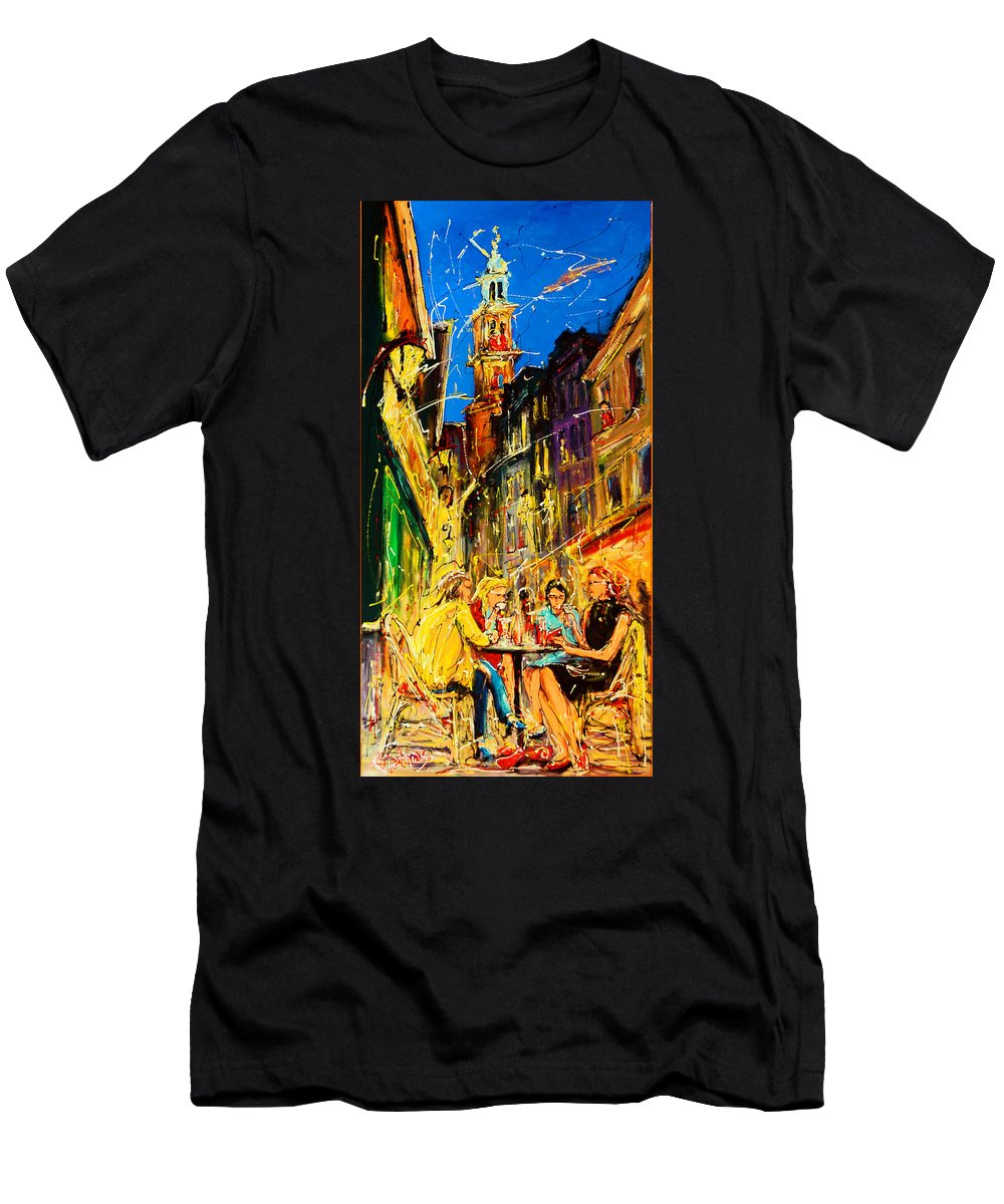 Cafe Of Amsterda Men's T-Shirt (Athletic Fit) featuring the painting Cafe Of Amsterdam At Night by Mathias