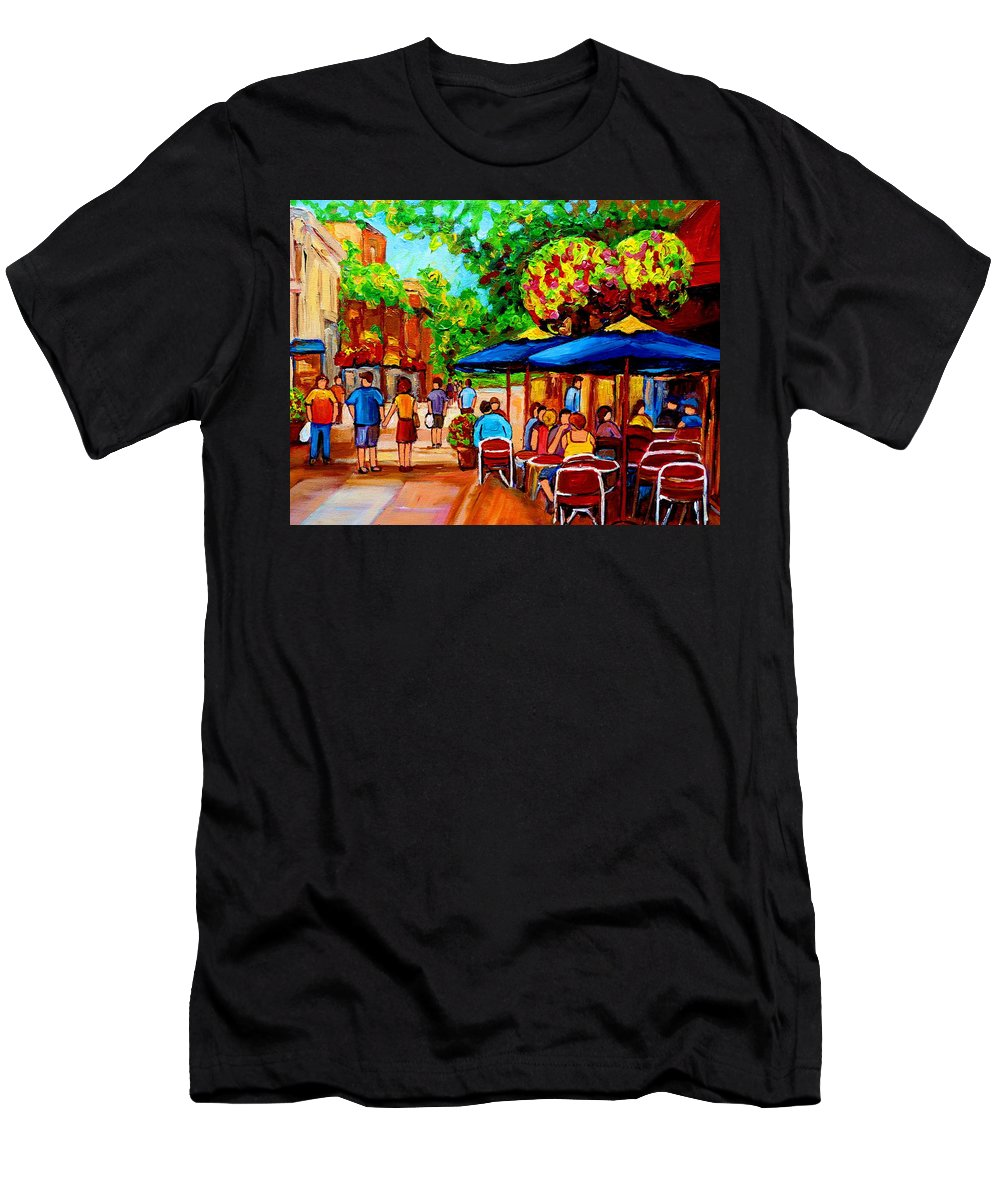 Cafe On Prince Arthur In Montreal Men's T-Shirt (Athletic Fit) featuring the painting Cafe On Prince Arthur In Montreal by Carole Spandau