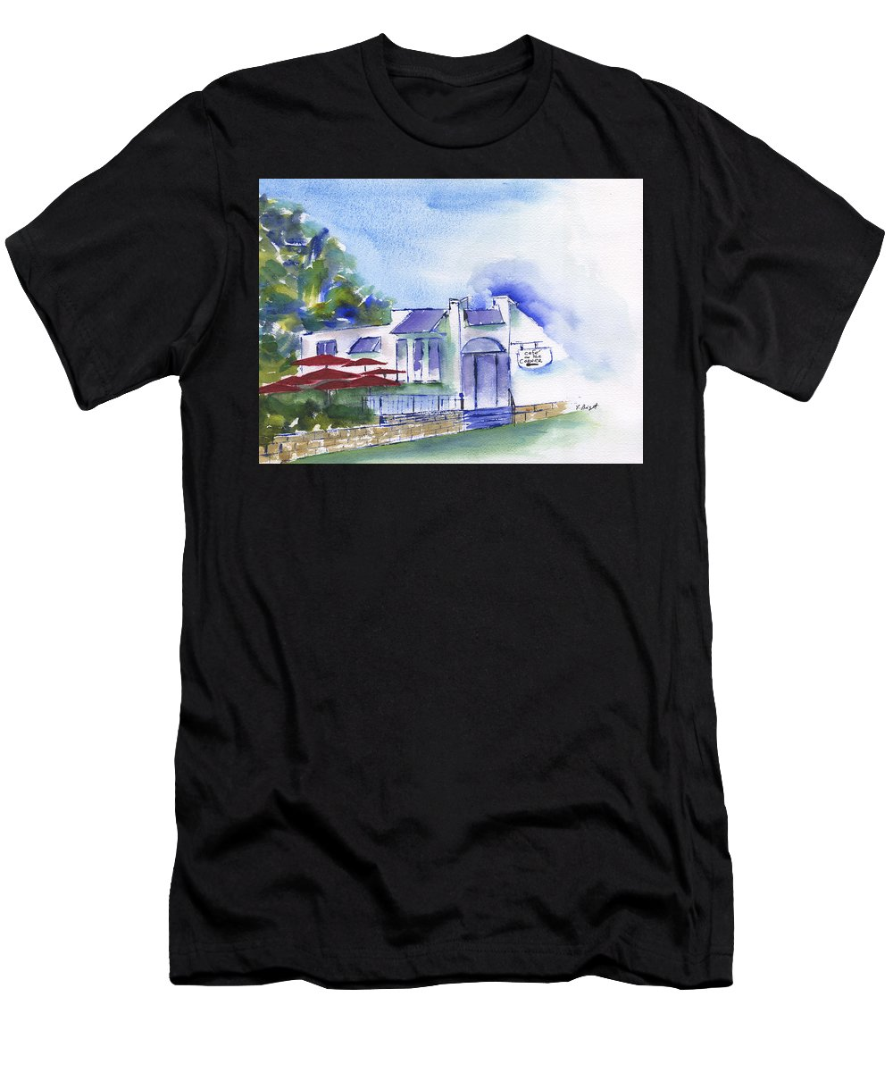 Cafe On The Corner Men's T-Shirt (Athletic Fit) featuring the painting Cafe On The Corner by Frank Bright