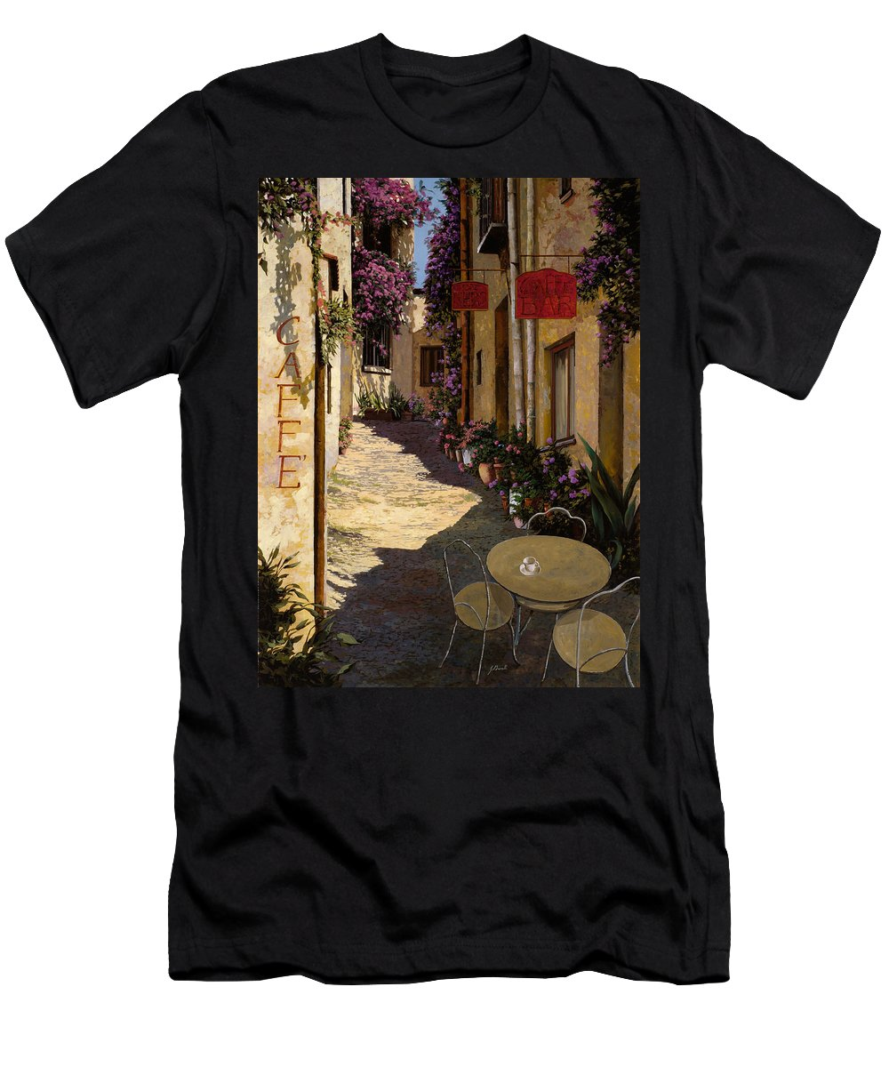 Caffe Men's T-Shirt (Athletic Fit) featuring the painting Cafe Piccolo by Guido Borelli