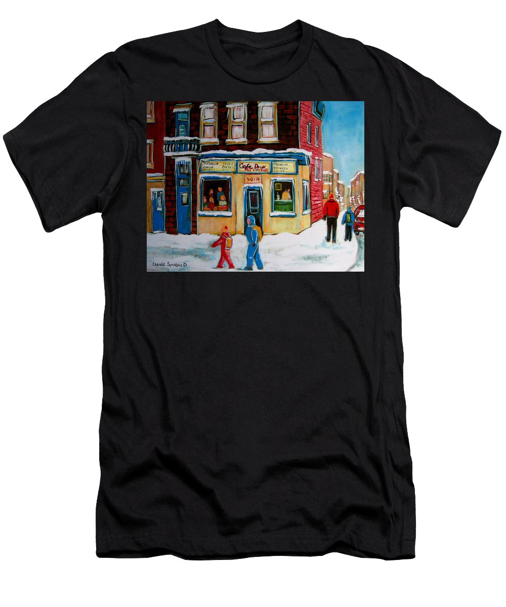 Cafe St. Viateur Montreal Men's T-Shirt (Athletic Fit) featuring the painting Cafe St. Viateur Montreal by Carole Spandau