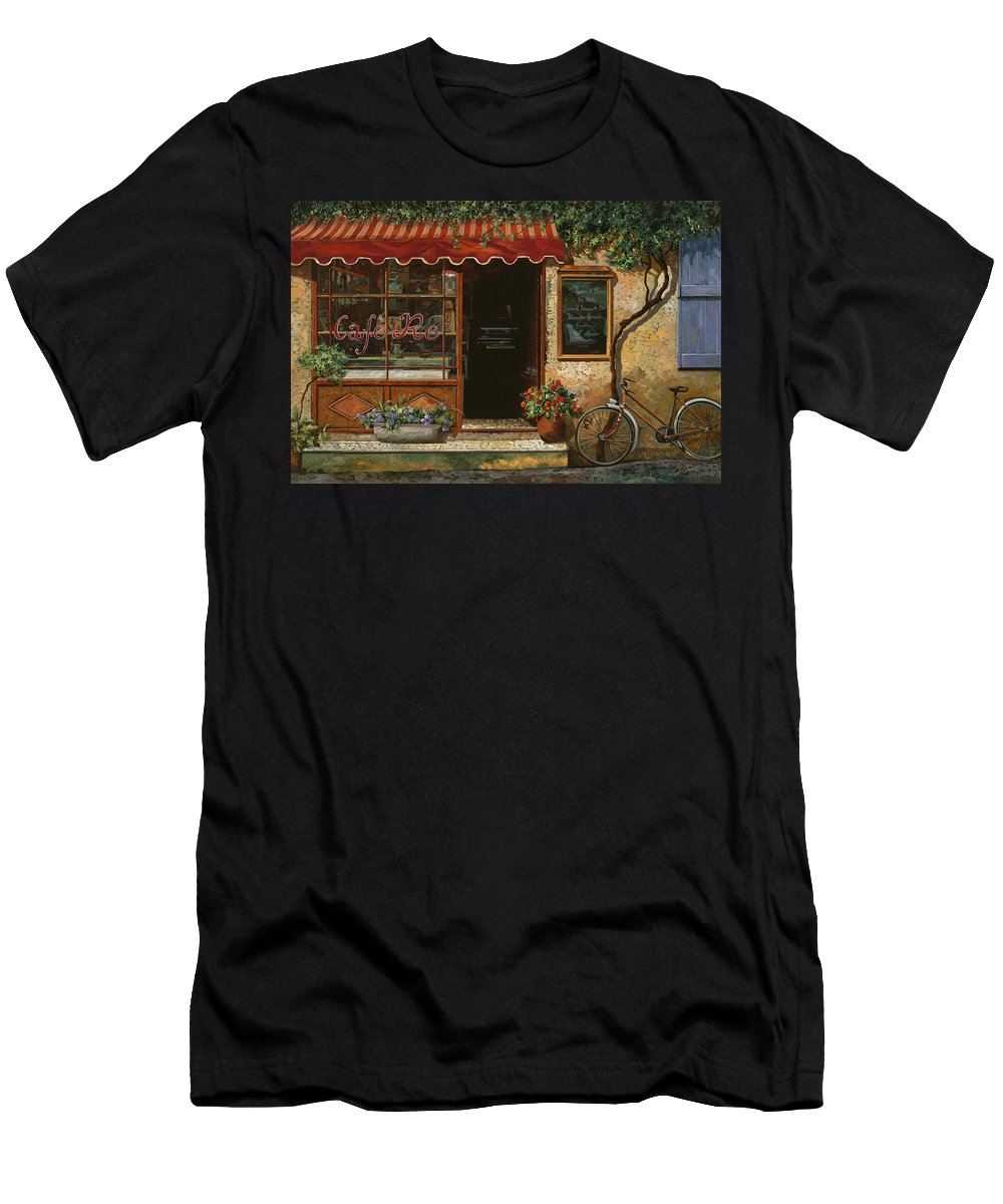 Caffe' Men's T-Shirt (Athletic Fit) featuring the painting caffe Re by Guido Borelli