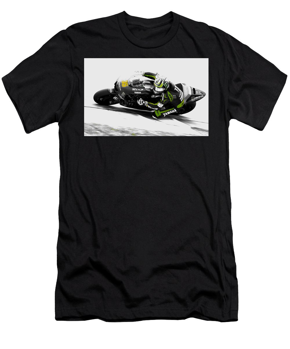 Cal Crutchlow Men's T-Shirt (Athletic Fit) featuring the mixed media Cal Crutchlow by Brian Reaves