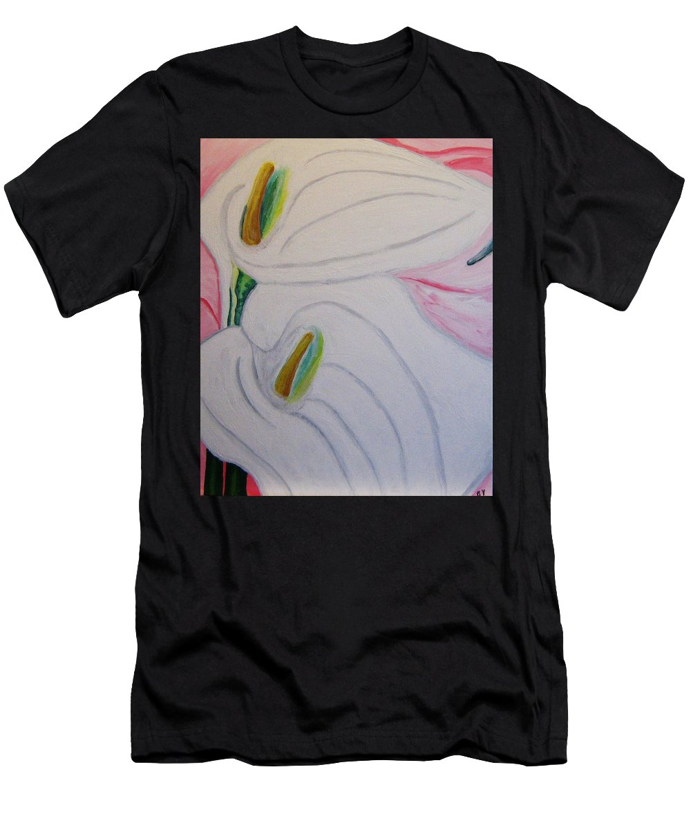 Impressionism Men's T-Shirt (Athletic Fit) featuring the painting Cala Lillies by Barbara Yearty