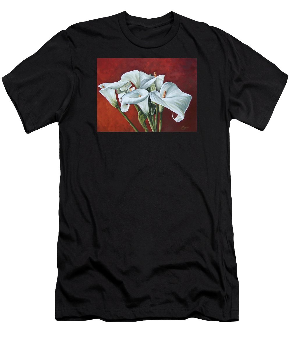 Calas Men's T-Shirt (Athletic Fit) featuring the painting Calas by Natalia Tejera