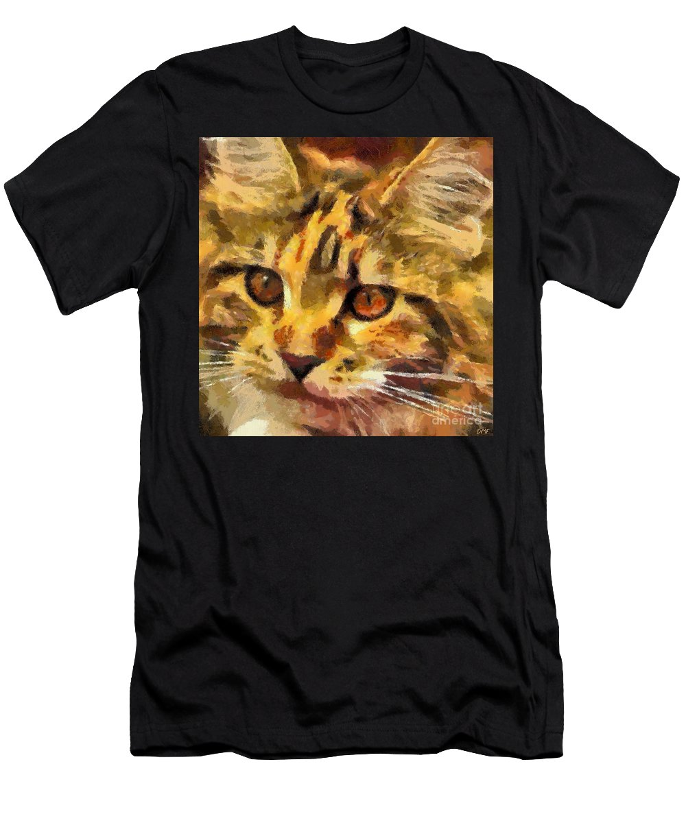 Animal Men's T-Shirt (Athletic Fit) featuring the painting Calico Cat by Dragica Micki Fortuna