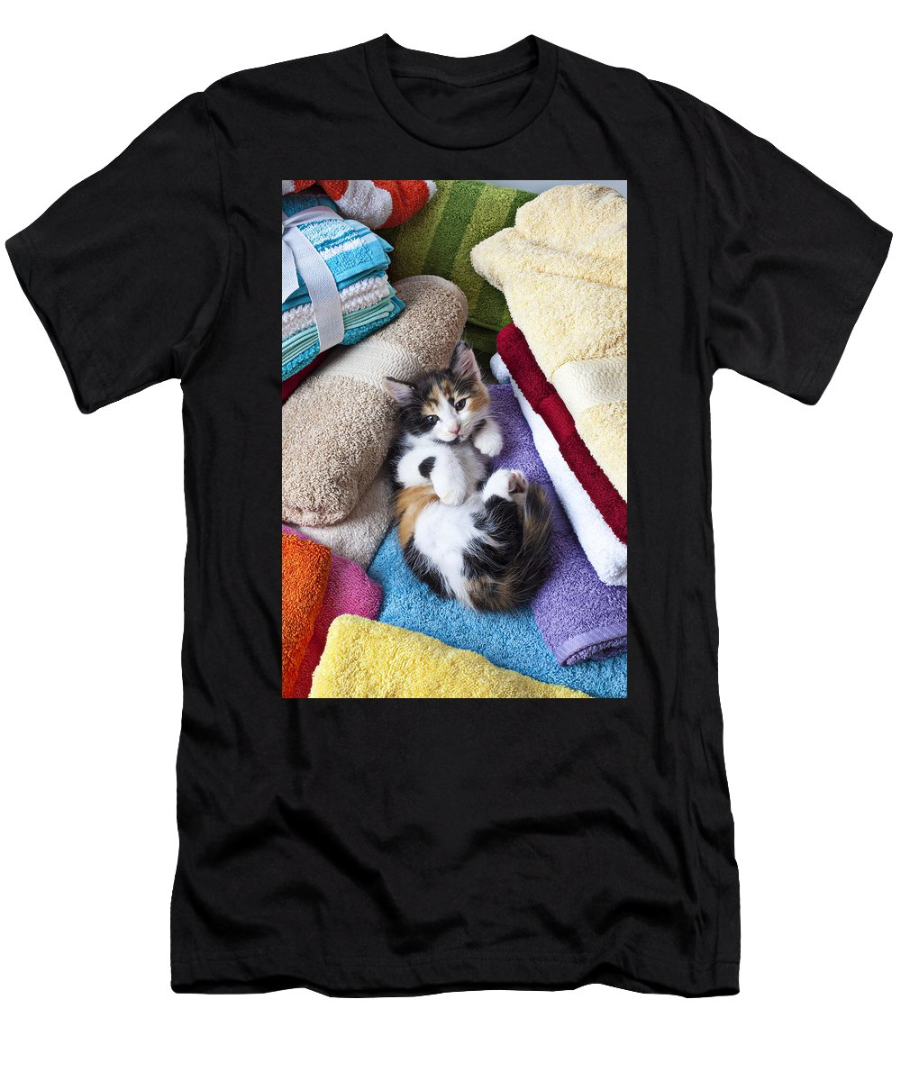 Calico Kitten Soft Towels Cat Men's T-Shirt (Athletic Fit) featuring the photograph Calico Kitten On Towels by Garry Gay
