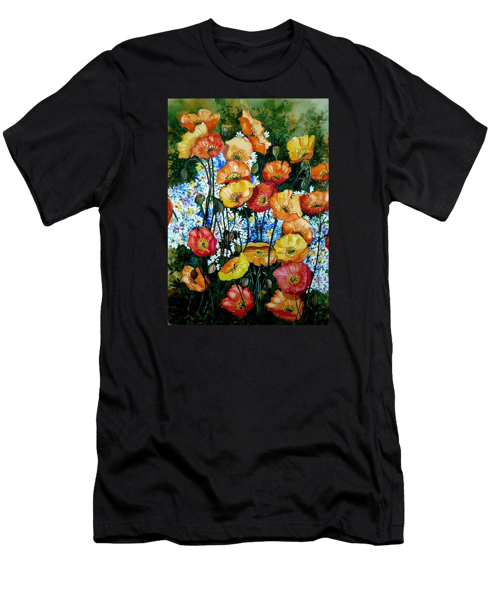 Poppy Painting Flower Painting Floral Painting California Poppy Painting Yellow Painting Orange Painting Botanical Painting Wild Poppy Painting T-Shirt featuring the painting California Dreamz by Karin Dawn Kelshall- Best