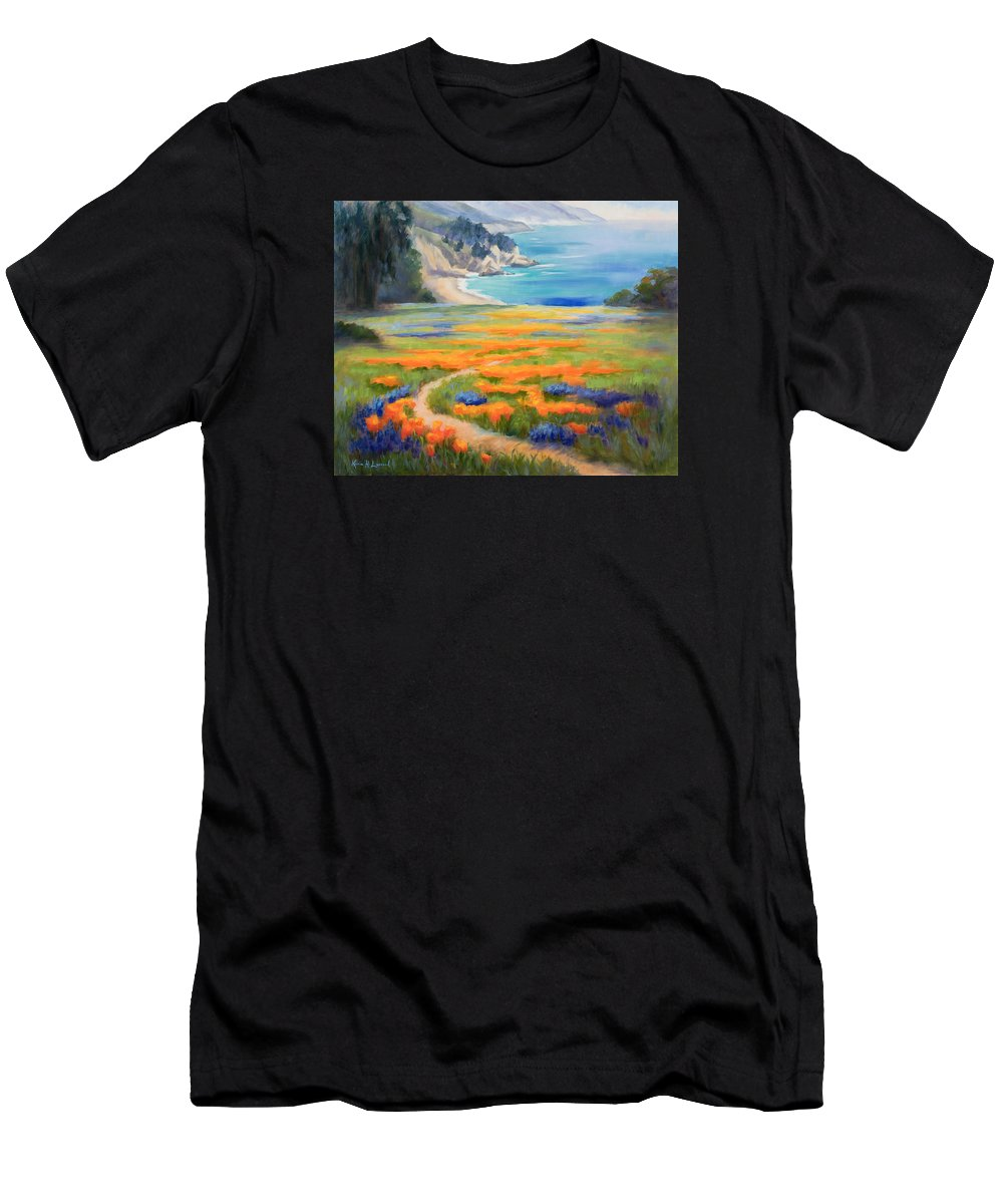 Big Sur Men's T-Shirt (Athletic Fit) featuring the painting California Spring Big Sur by Karin Leonard