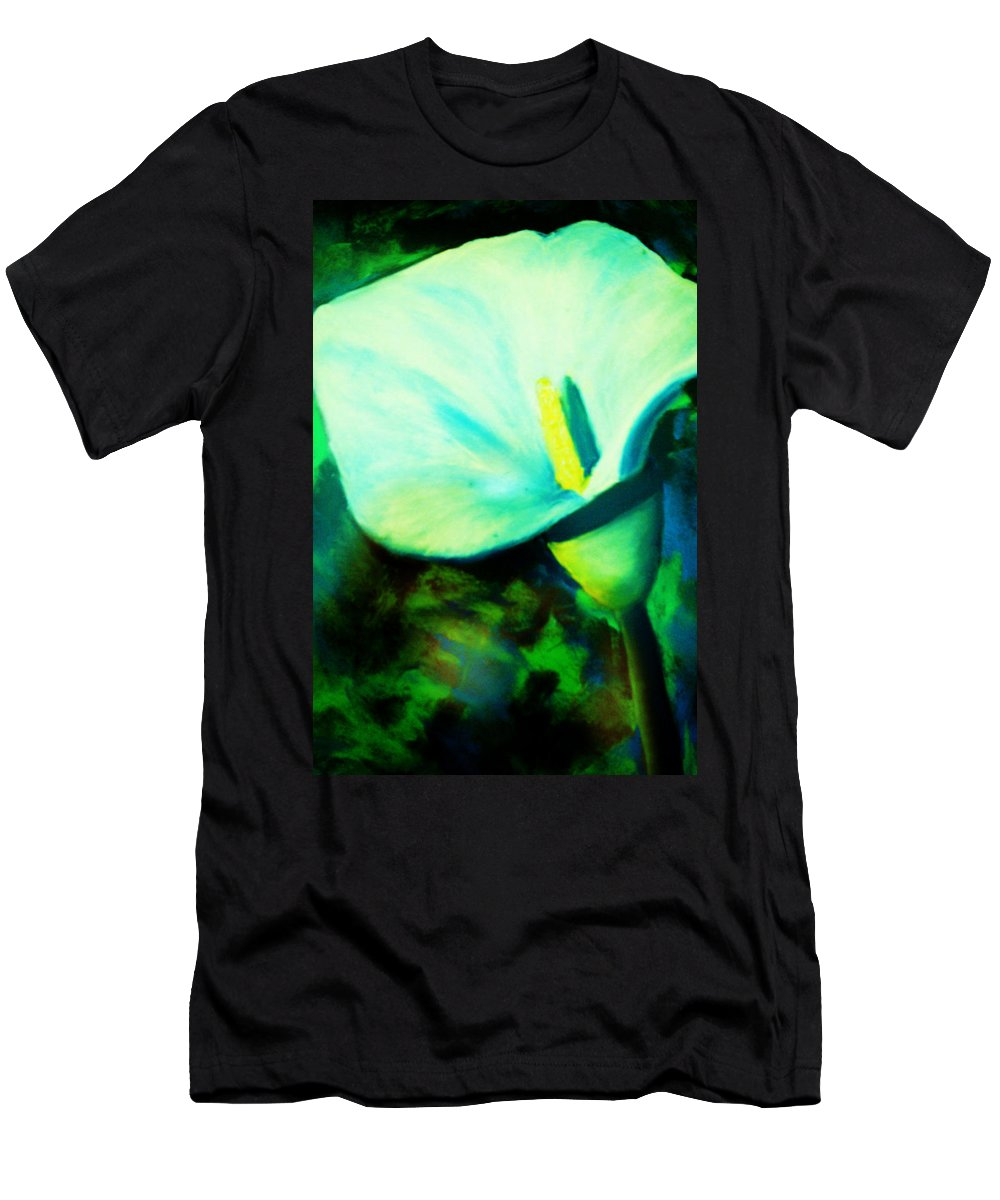White Calla Lily Men's T-Shirt (Athletic Fit) featuring the painting Calla Lily by Melinda Etzold