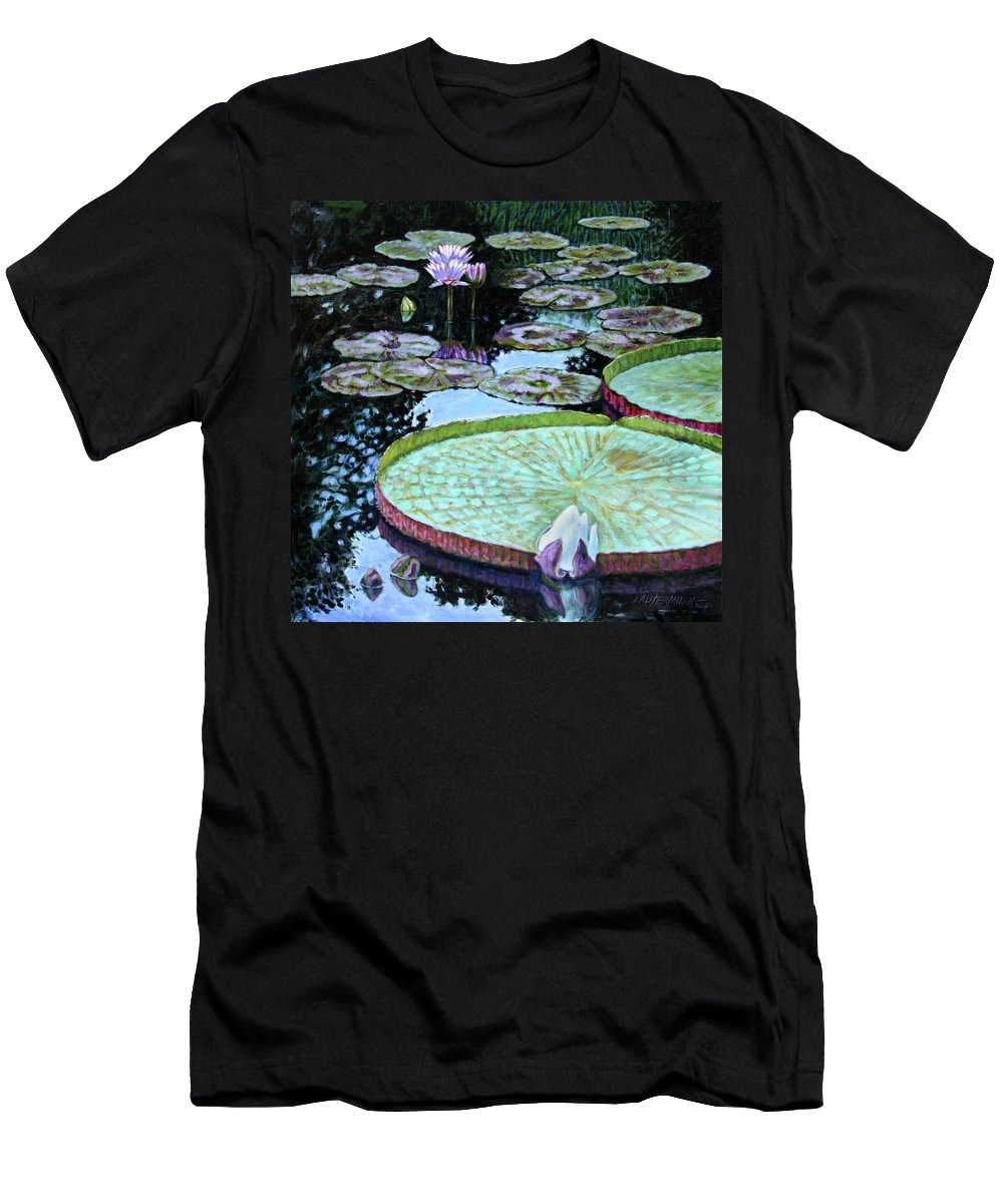 Water Lilies Men's T-Shirt (Athletic Fit) featuring the painting Calm Reflections by John Lautermilch