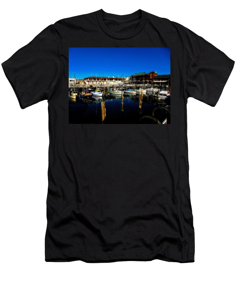 Fishermans Wharf Men's T-Shirt (Athletic Fit) featuring the photograph Calm Waters V2 by Douglas Barnard