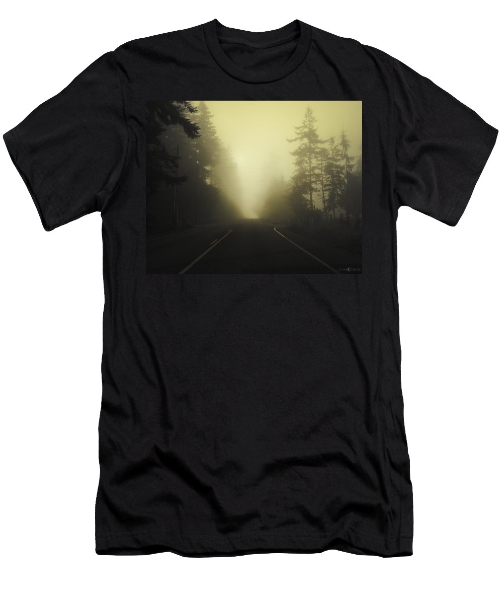 Fog Men's T-Shirt (Athletic Fit) featuring the photograph Camano Island Fog by Tim Nyberg