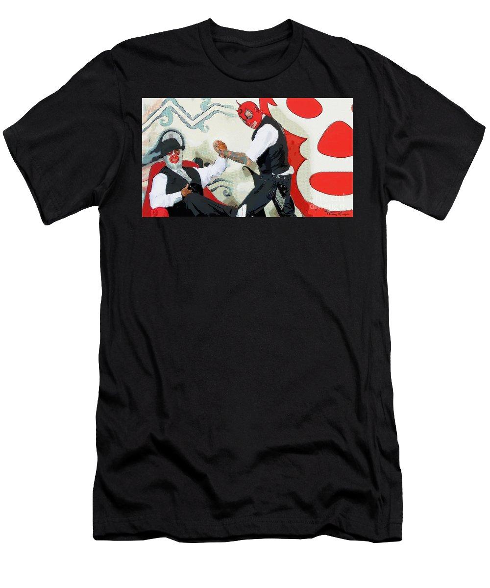Red Men's T-Shirt (Athletic Fit) featuring the painting Camaradas Rojillos by Nancy Almazan