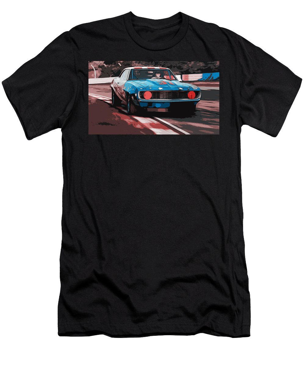Camaro Z28 Transam Men's T-Shirt (Athletic Fit) featuring the painting Camaro Z28 Transam 1969 by Andrea Mazzocchetti