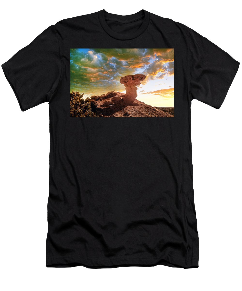 Santa Fe Men's T-Shirt (Athletic Fit) featuring the photograph Camel Rock by Buddy Mays