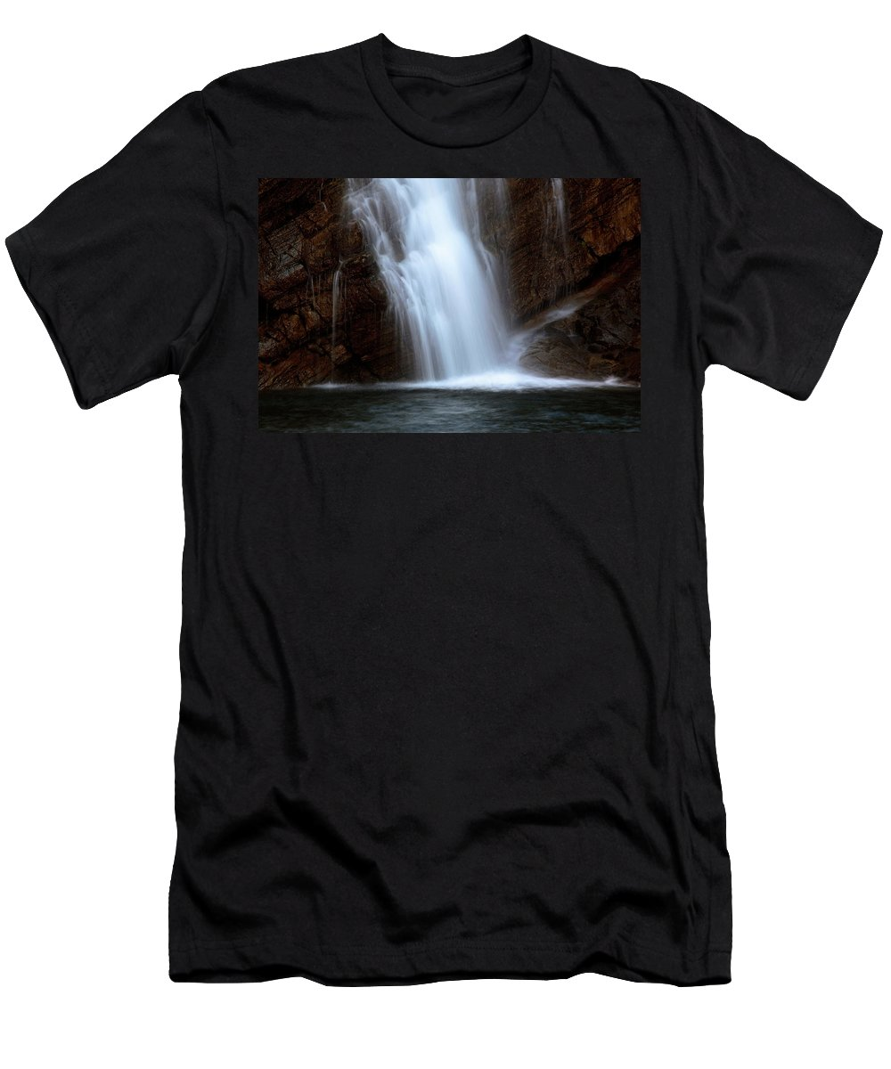 Cameron Falls Men's T-Shirt (Athletic Fit) featuring the digital art Cameron Falls In Waterton Lakes National Park Of Alberta by Mark Duffy