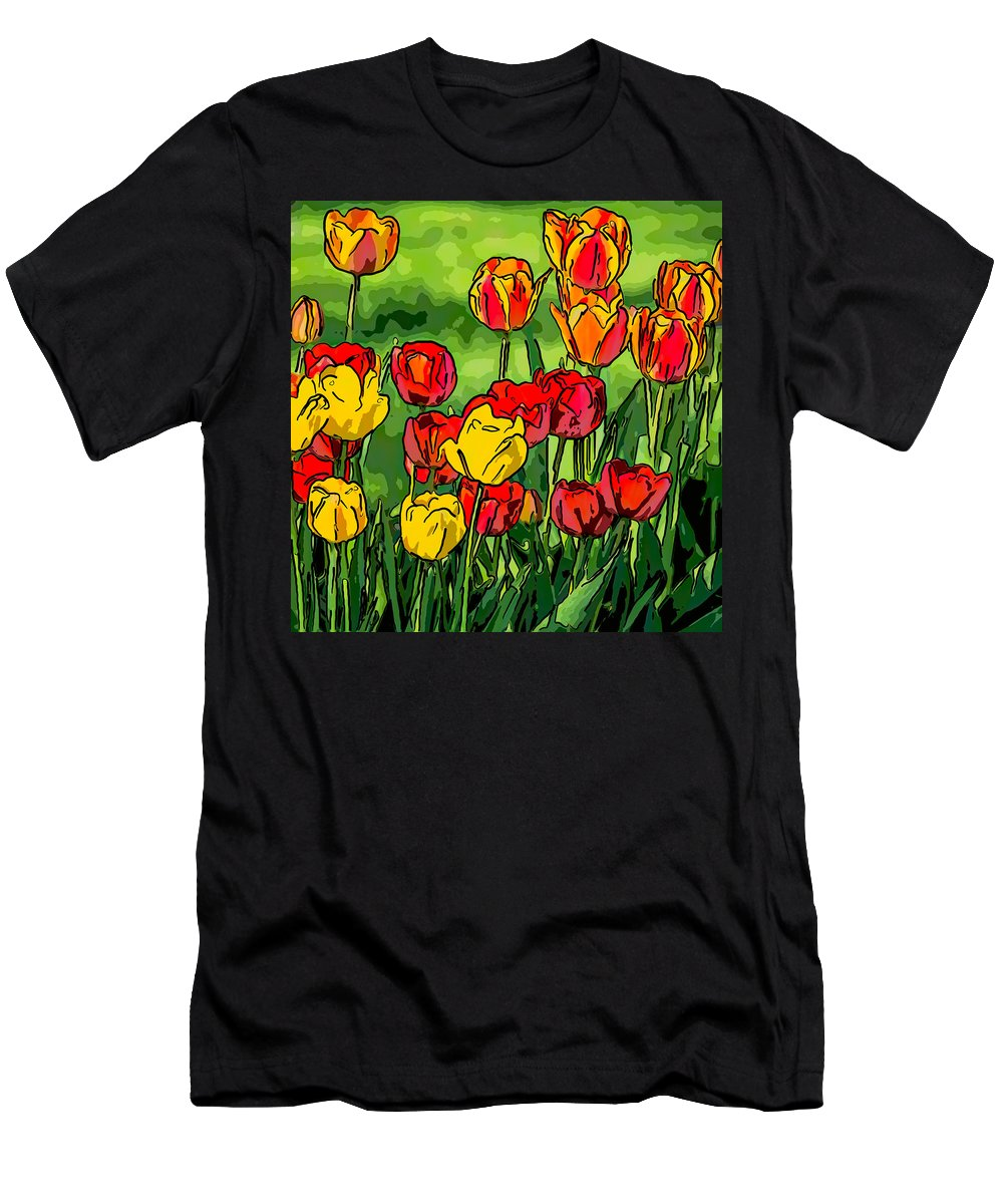 Steve Harrington Men's T-Shirt (Athletic Fit) featuring the photograph Camille's Tulips by Steve Harrington