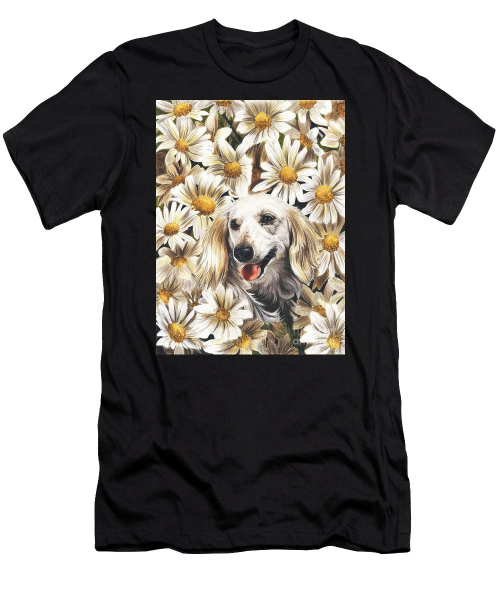 Dachshund Men's T-Shirt (Athletic Fit) featuring the drawing Camoflaged by Barbara Keith