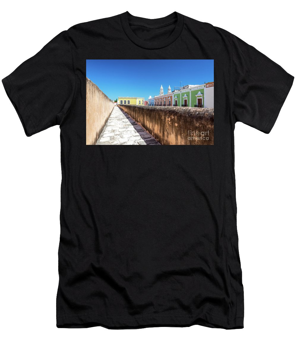 Campeche Men's T-Shirt (Athletic Fit) featuring the photograph Campeche Wall And City View by Jess Kraft