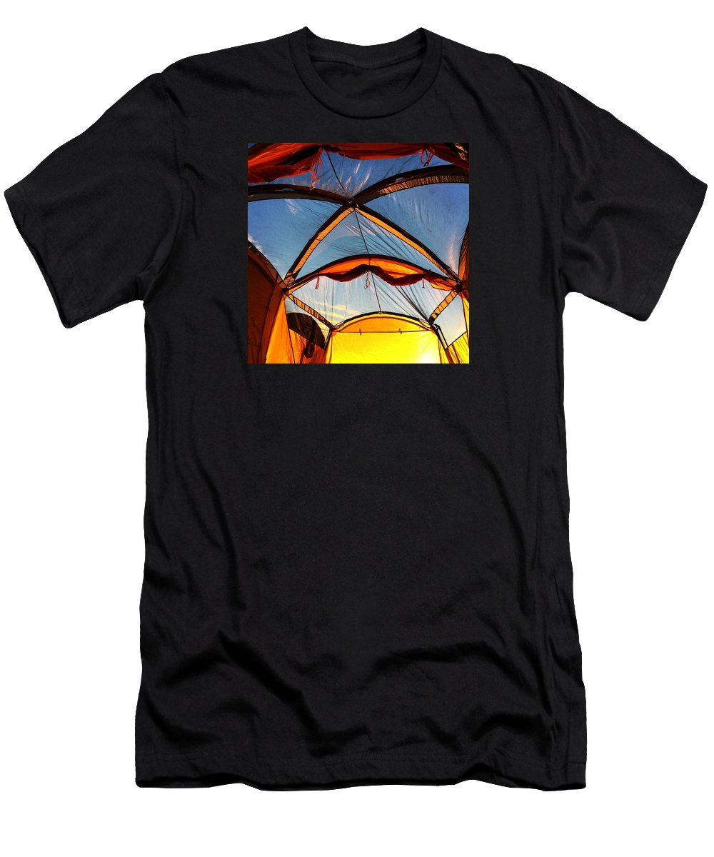 Camping Men's T-Shirt (Athletic Fit) featuring the photograph Camping At Sunrise by Scott Fluhler