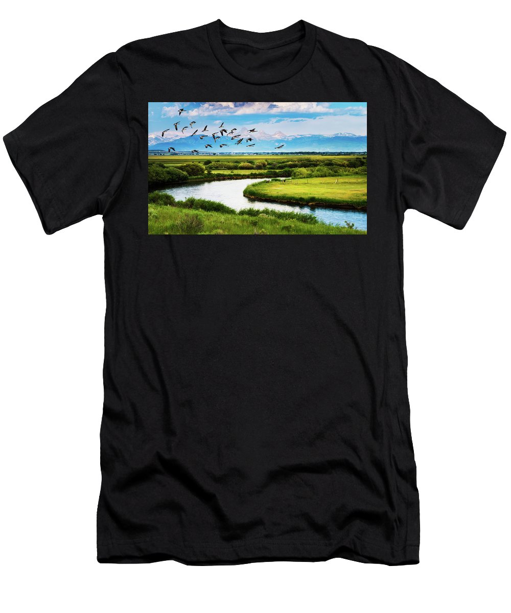 Branta Canadensis Men's T-Shirt (Athletic Fit) featuring the photograph Canada Geese Entering Idaho's Teton Valley by TL Mair