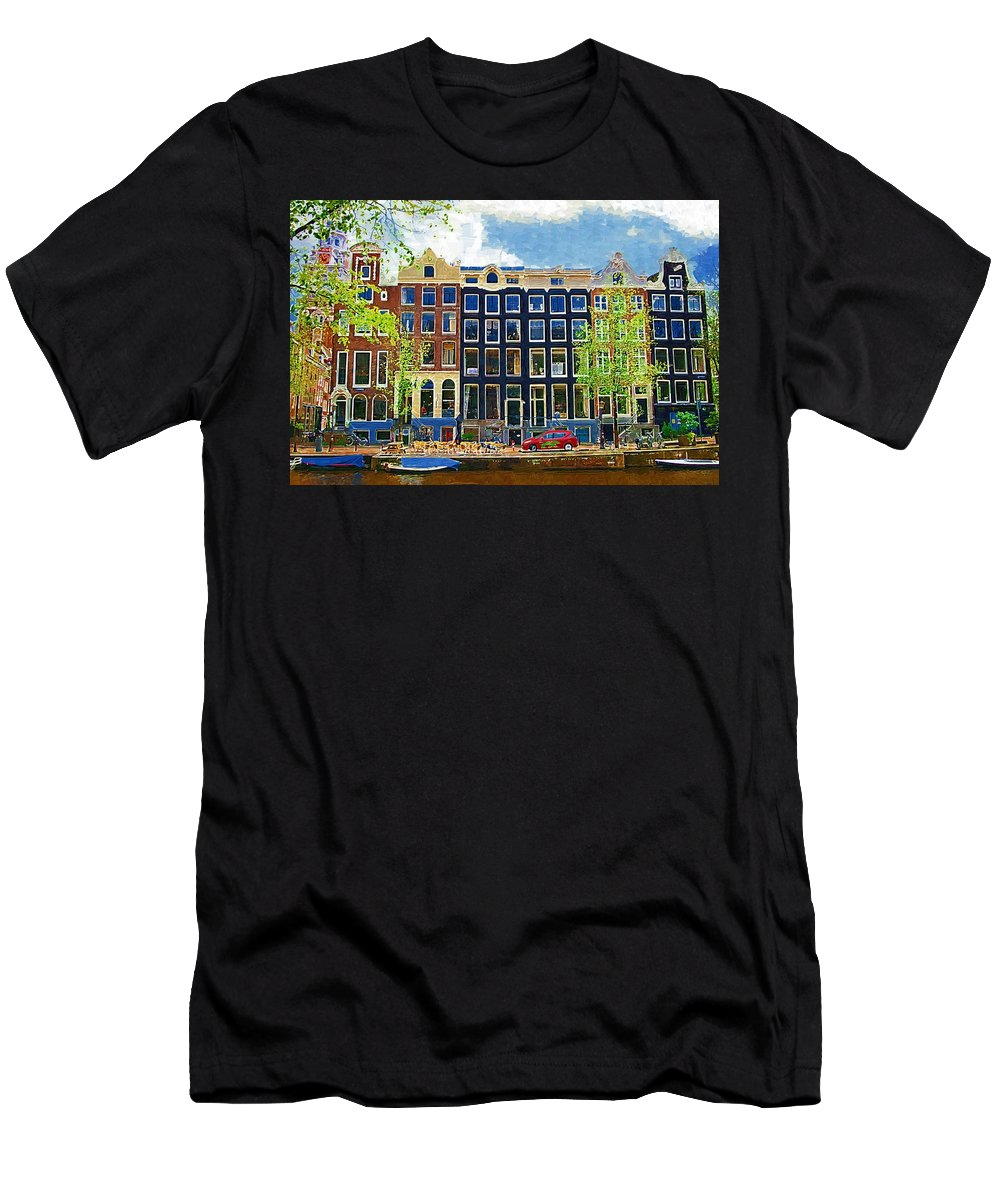 Amstersdam Men's T-Shirt (Athletic Fit) featuring the photograph Canal Houses by Tom Reynen