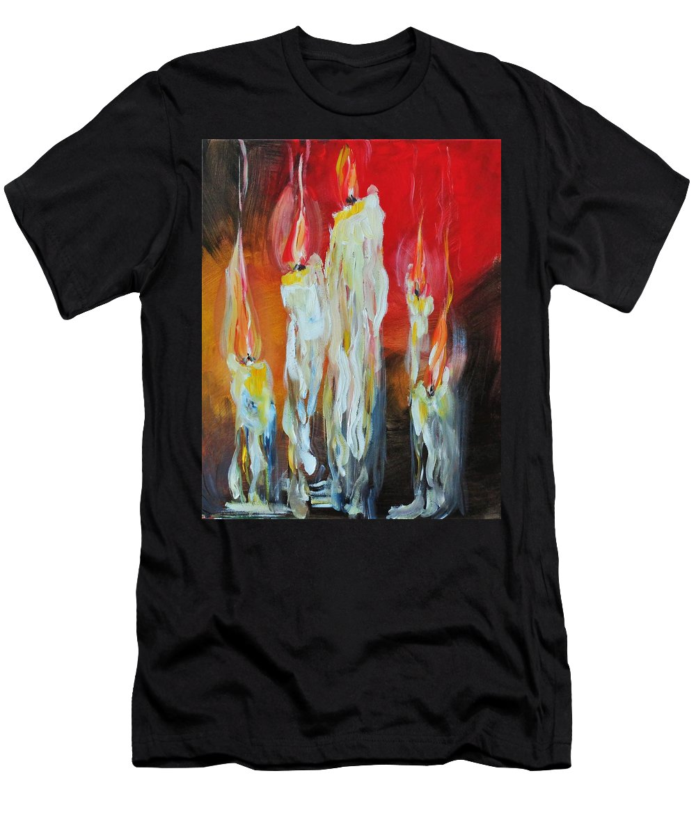 Melting Candles Men's T-Shirt (Athletic Fit) featuring the painting Candle Dance by Larissa Pirogovski