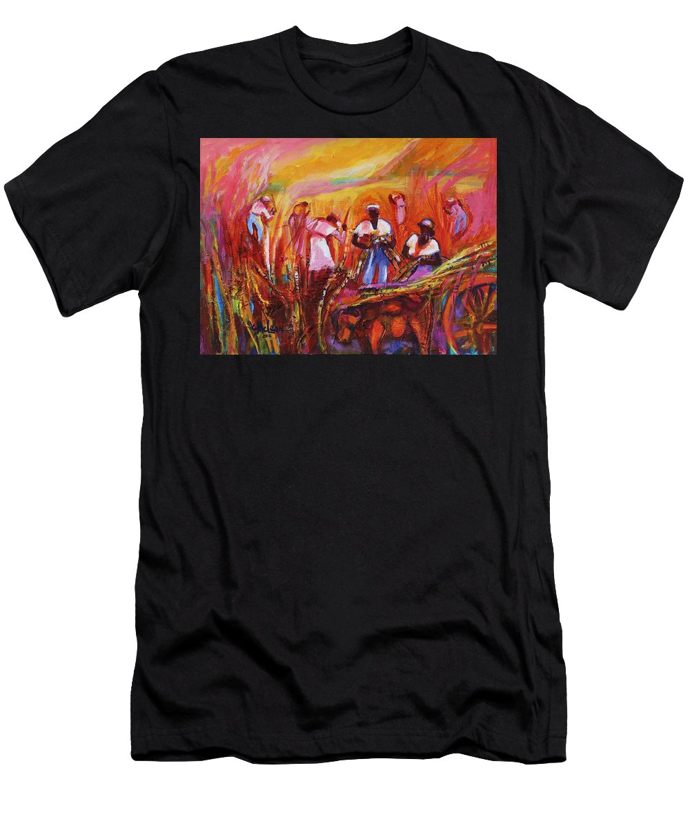 Cane Harvest Men's T-Shirt (Athletic Fit) featuring the painting Cane Harvest by Cynthia McLean